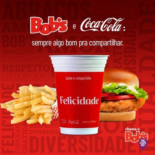 Parceria entre Bob's e Coca-Cola leva palavras positivas aos clientes