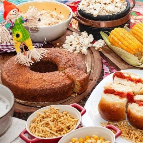 Buffet de comidas juninas no Café das Orquídeas